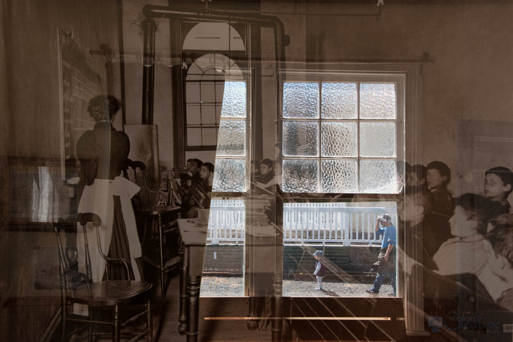 Double exposure of schoolchildren in classroom over top the classroom today with a father and son through the window