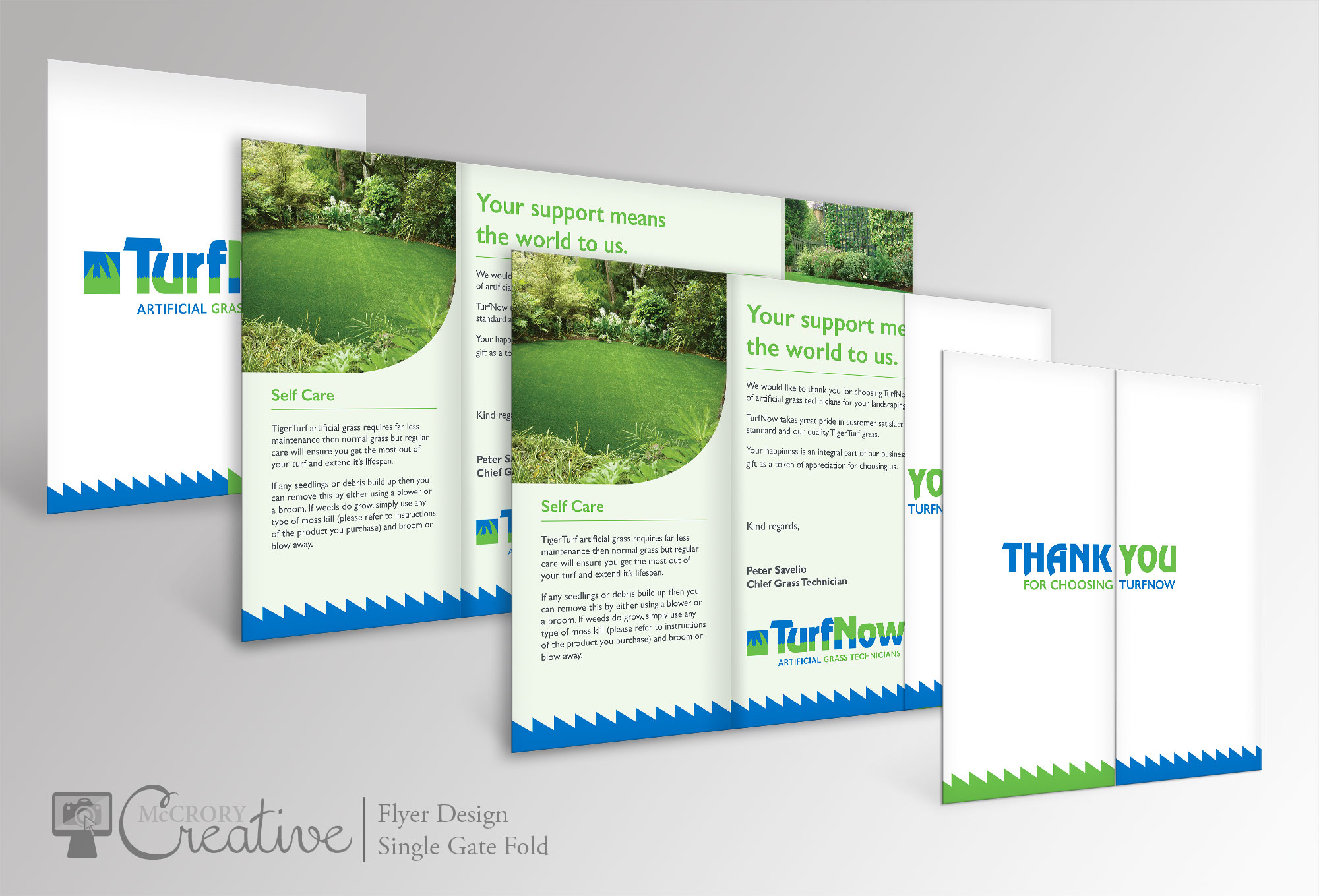 TurfNow Single Gate Fold Graphic Design Flyer Design Thank You Cards